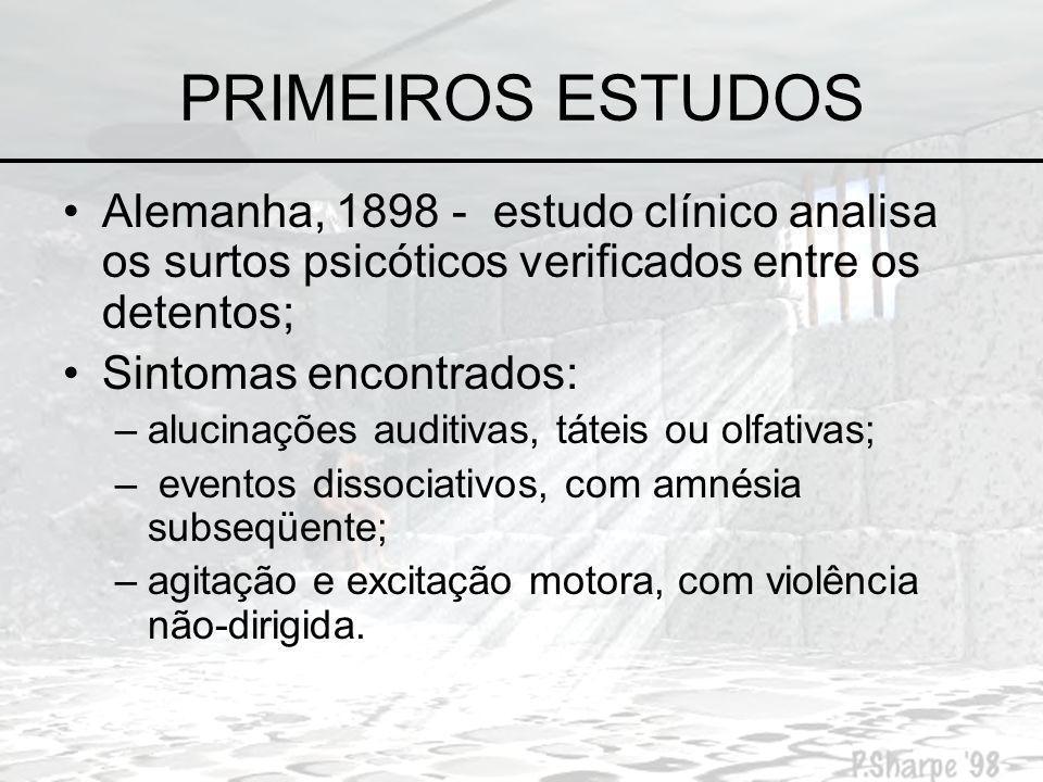 PRIMEIROS ESTUDOS Alemanha, 1898 - estudo clínico analisa os surtos psicóticos verificados entre os detentos;