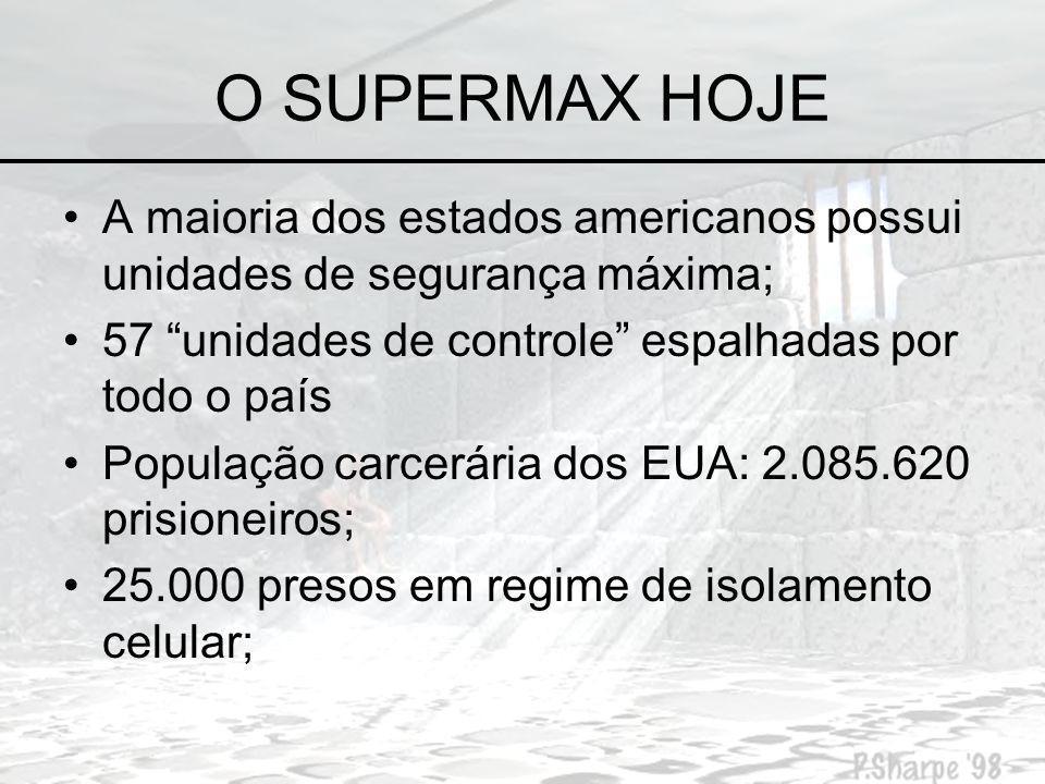 O SUPERMAX HOJE A maioria dos estados americanos possui unidades de segurança máxima; 57 unidades de controle espalhadas por todo o país.