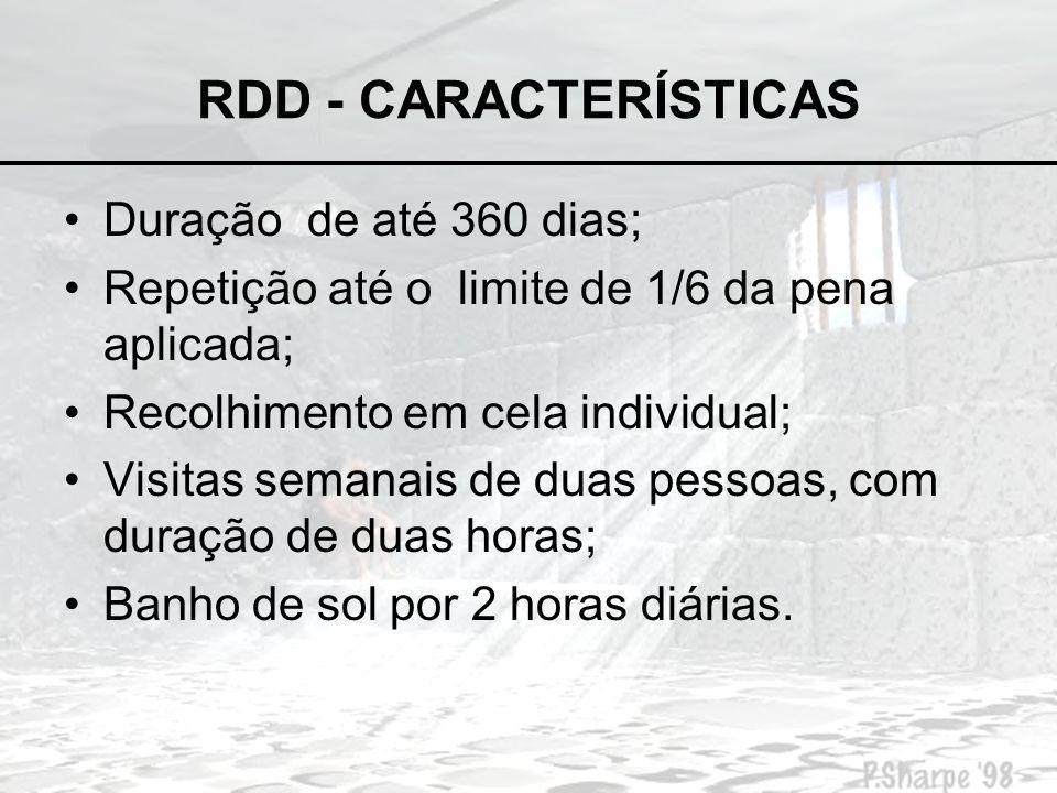 RDD - CARACTERÍSTICAS Duração de até 360 dias;