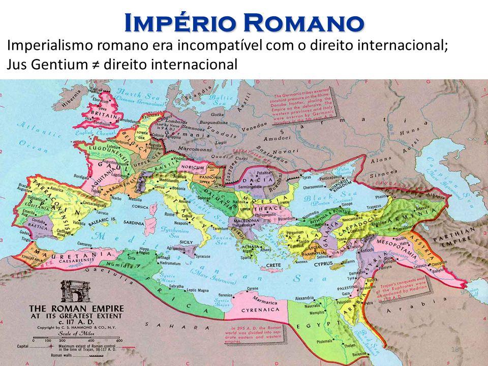 Império Romano Imperialismo romano era incompatível com o direito internacional; Jus Gentium ≠ direito internacional.