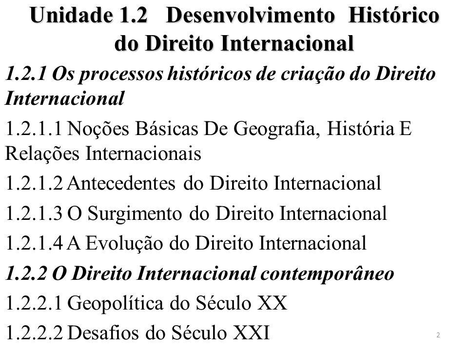 Unidade 1.2 Desenvolvimento Histórico do Direito Internacional