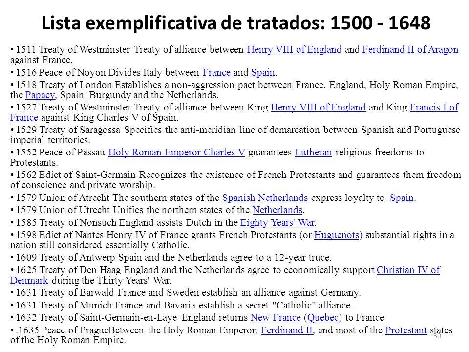 Lista exemplificativa de tratados: 1500 - 1648