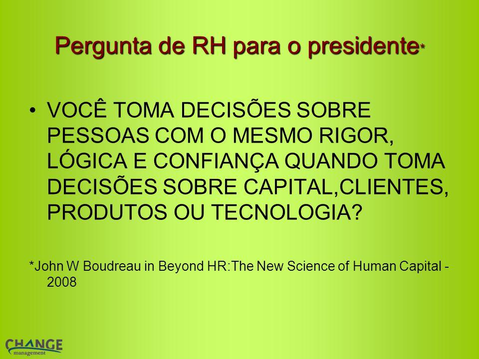 Pergunta de RH para o presidente*