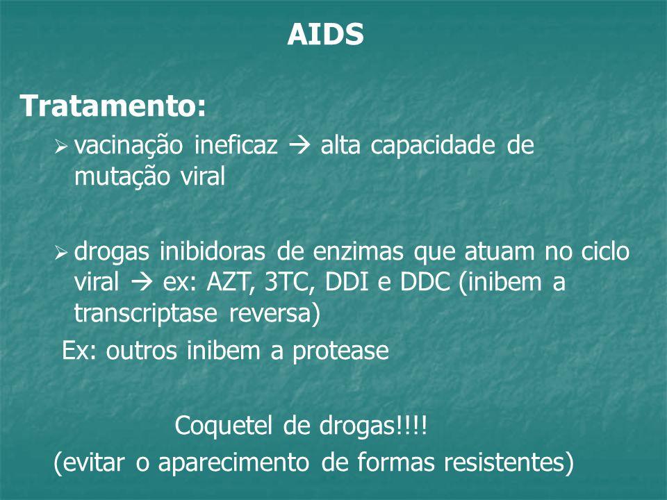 AIDS Tratamento: vacinação ineficaz  alta capacidade de mutação viral