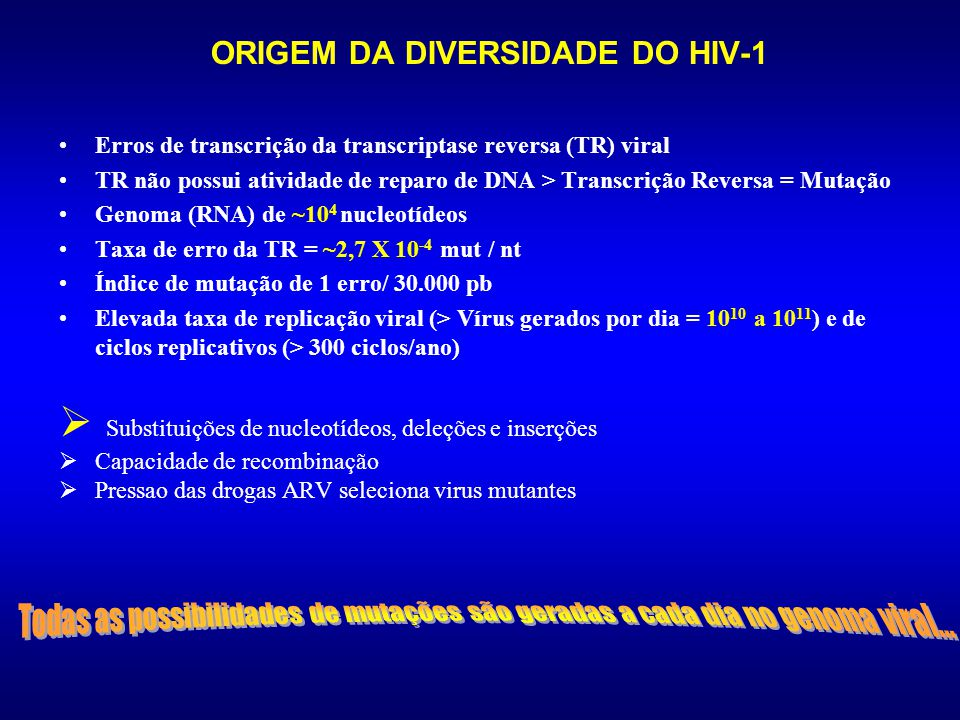 ORIGEM DA DIVERSIDADE DO HIV-1