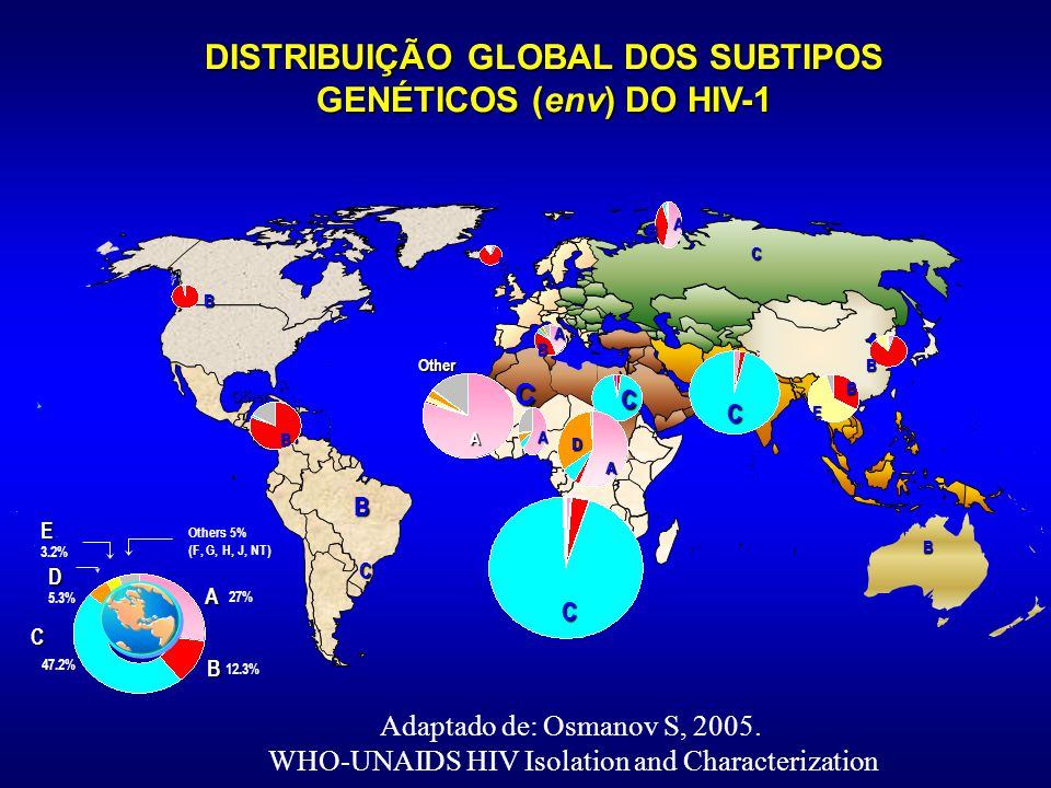 DISTRIBUIÇÃO GLOBAL DOS SUBTIPOS GENÉTICOS (env) DO HIV-1