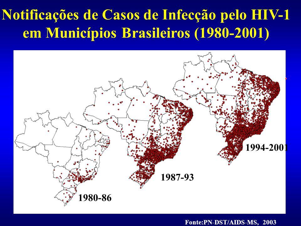 Notificações de Casos de Infecção pelo HIV-1 em Municípios Brasileiros (1980-2001)