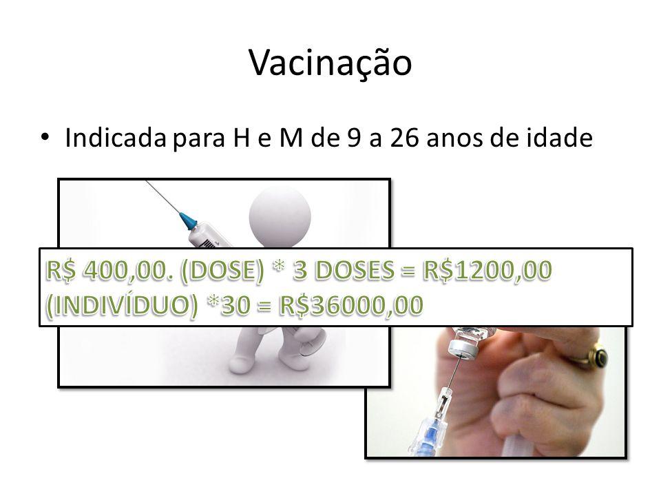 Vacinação Indicada para H e M de 9 a 26 anos de idade