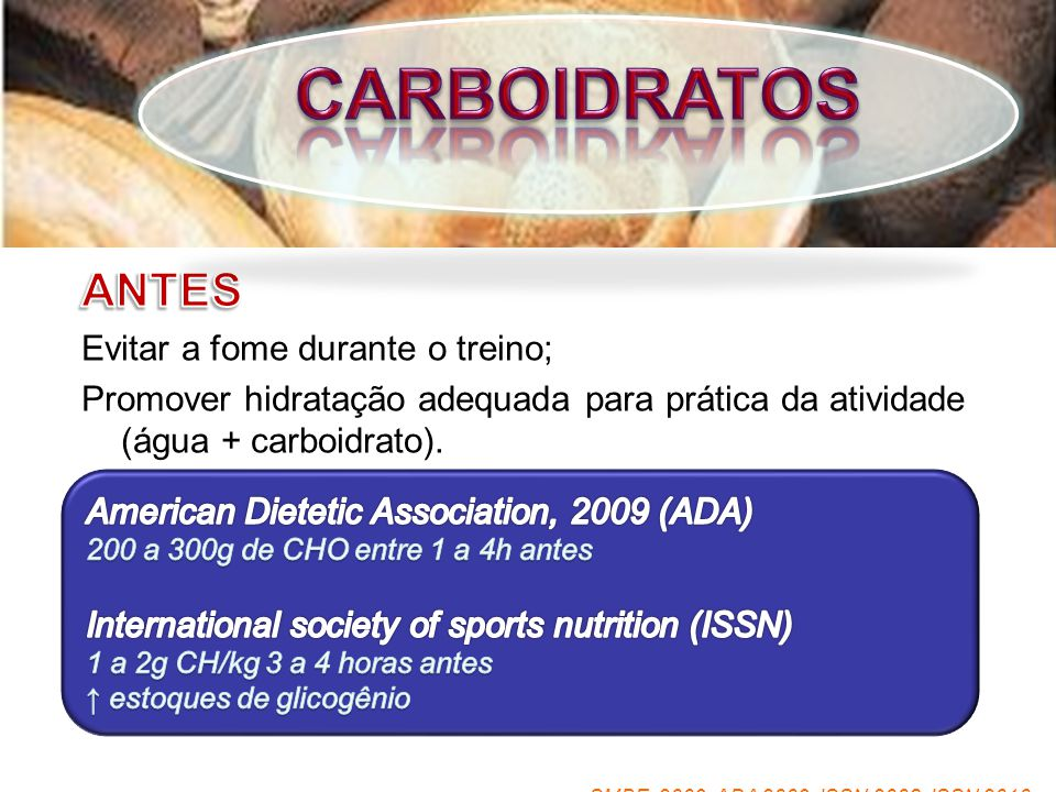 CARBOIDRATOS ANTES Evitar a fome durante o treino;
