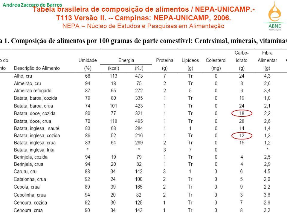 Tabela brasileira de composição de alimentos / NEPA-UNICAMP