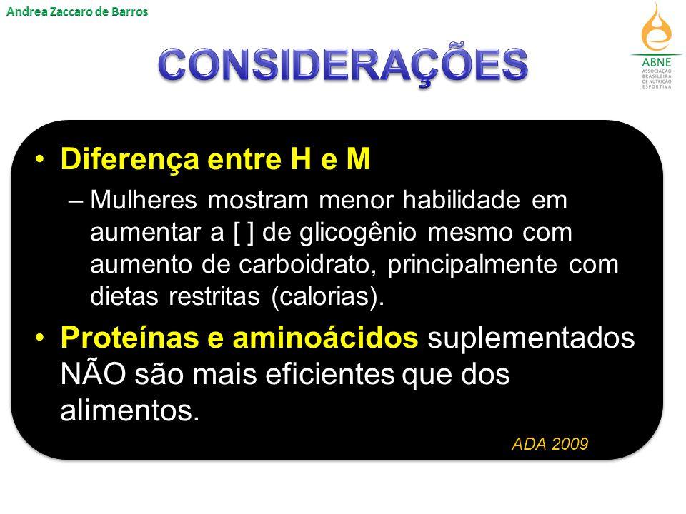 CONSIDERAÇÕES Diferença entre H e M