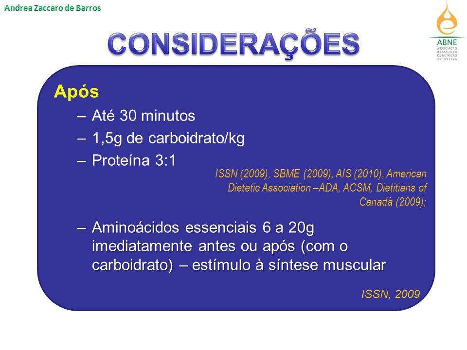 CONSIDERAÇÕES Após Até 30 minutos 1,5g de carboidrato/kg Proteína 3:1