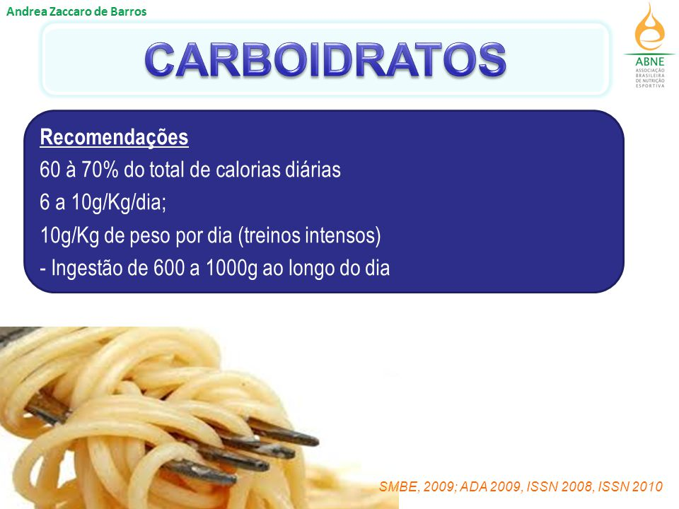 CARBOIDRATOS Recomendações 60 à 70% do total de calorias diárias