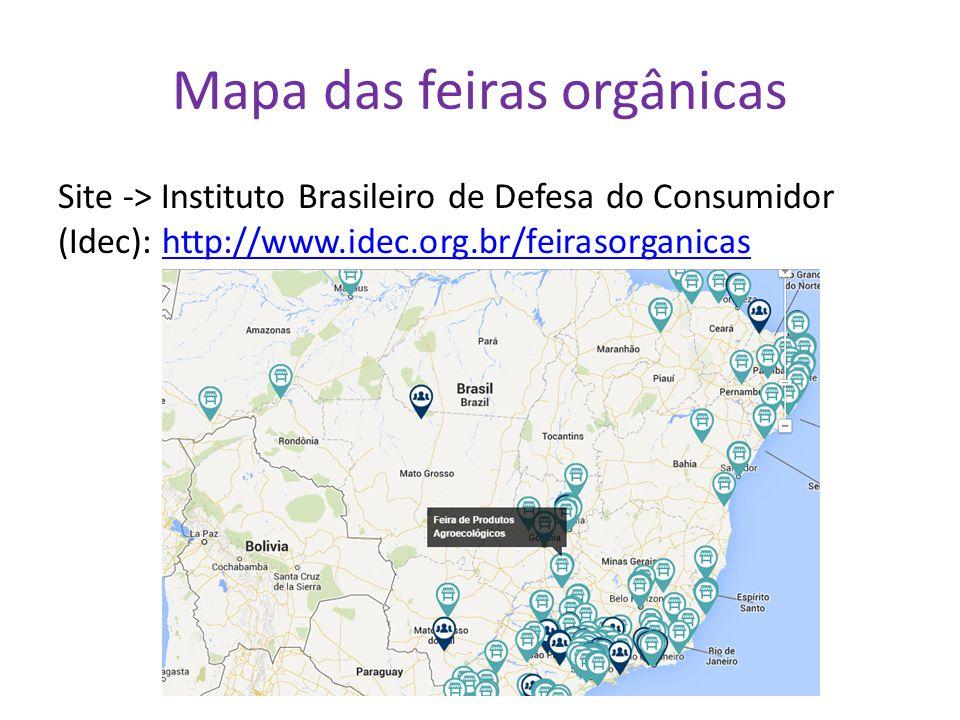 Mapa das feiras orgânicas