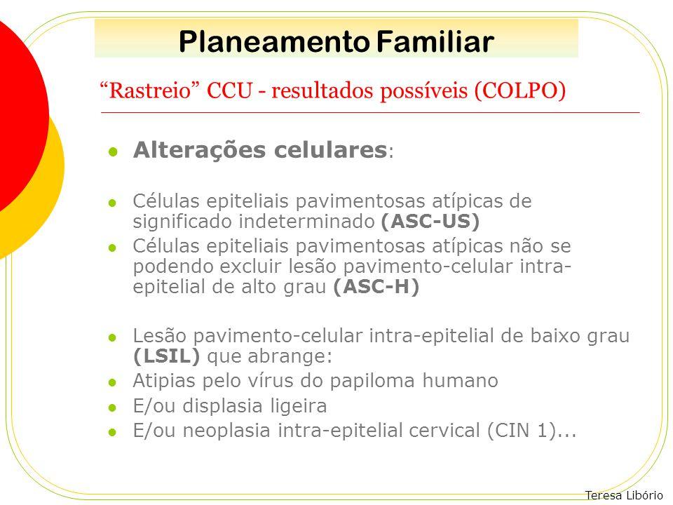 Rastreio CCU - resultados possíveis (COLPO)
