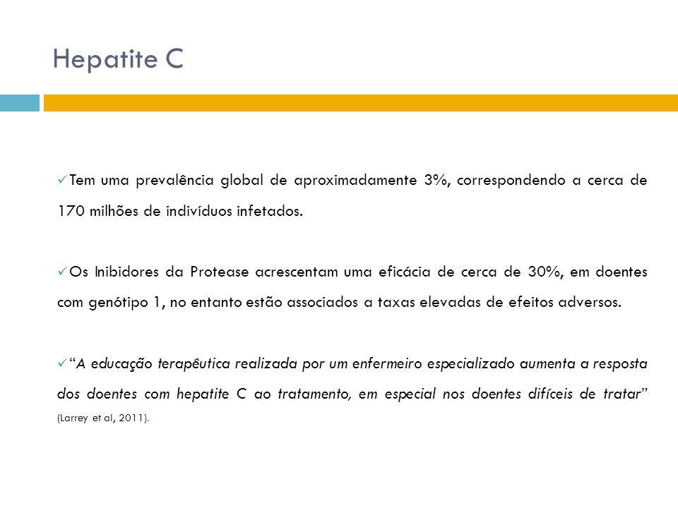 Hepatite C Tem uma prevalência global de aproximadamente 3%, correspondendo a cerca de 170 milhões de indivíduos infetados.