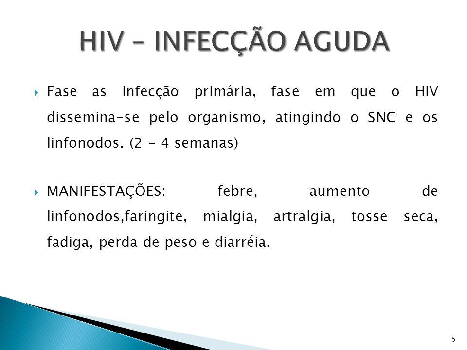 HIV – INFECÇÃO AGUDA Fase as infecção primária, fase em que o HIV dissemina-se pelo organismo, atingindo o SNC e os linfonodos. (2 - 4 semanas)