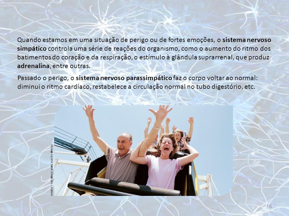 Quando estamos em uma situação de perigo ou de fortes emoções, o sistema nervoso simpático controla uma série de reações do organismo, como o aumento do ritmo dos batimentos do coração e da respiração, o estímulo à glândula suprarrenal, que produz adrenalina, entre outras.
