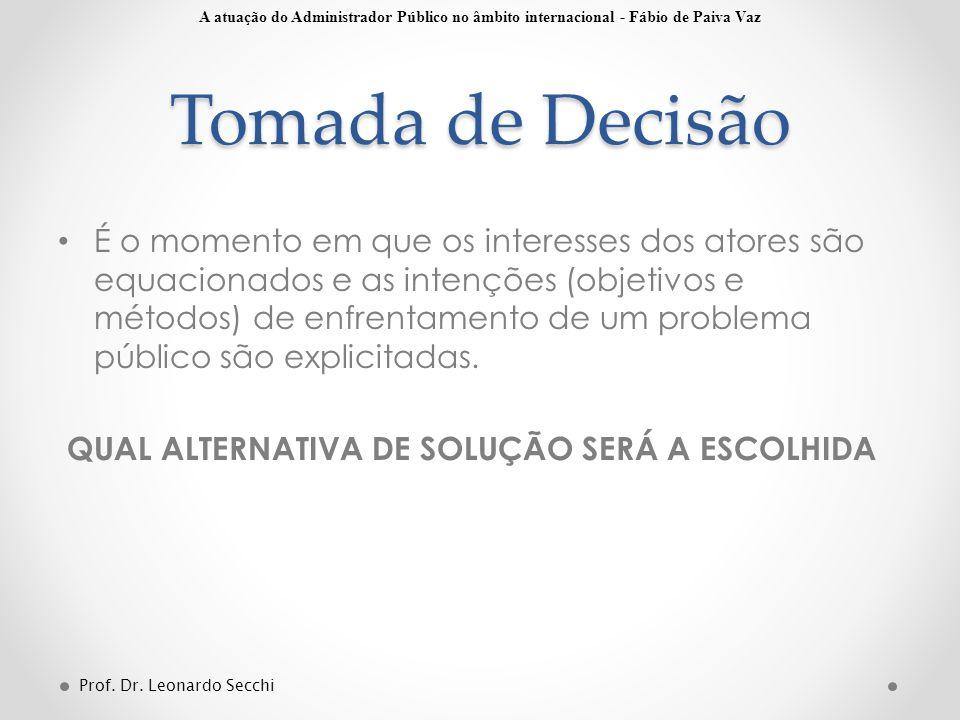 Tomada de Decisão A atuação do Administrador Público no âmbito internacional - Fábio de Paiva Vaz.