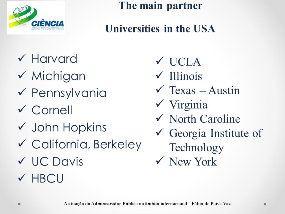 The main partner Universities in the USA