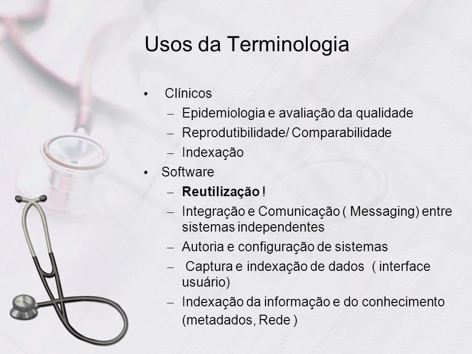 Usos da Terminologia Clínicos Epidemiologia e avaliação da qualidade