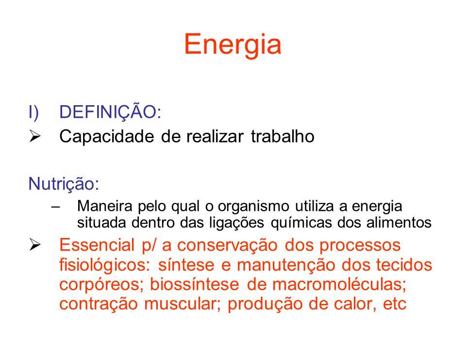 Energia DEFINIÇÃO: Capacidade de realizar trabalho Nutrição: