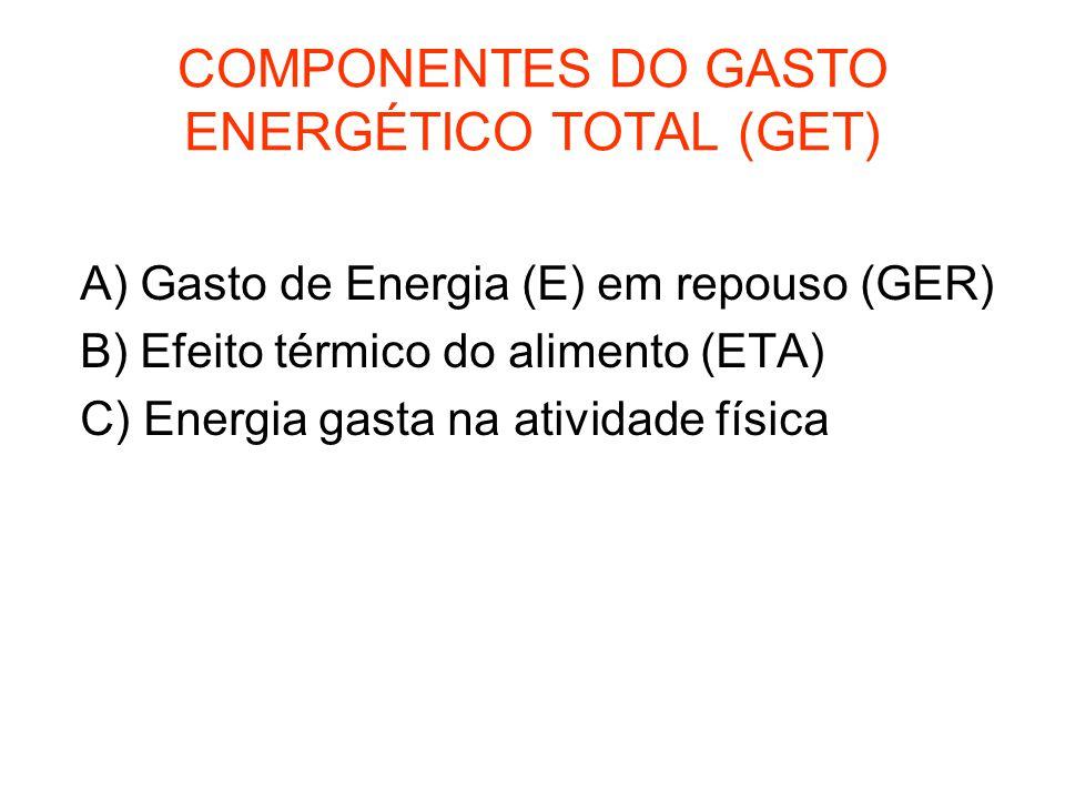 COMPONENTES DO GASTO ENERGÉTICO TOTAL (GET)