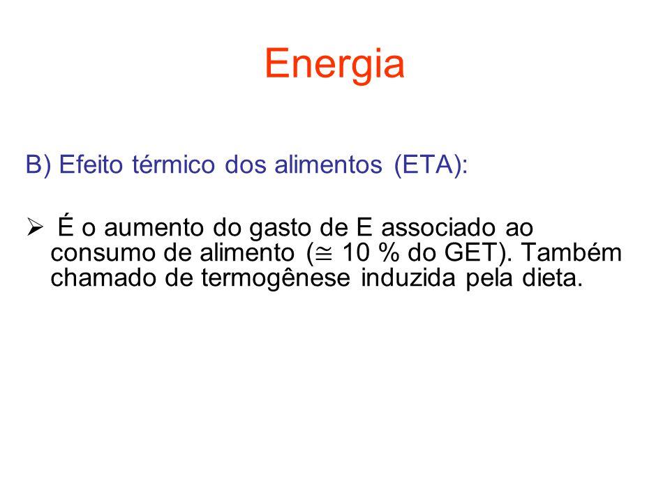 Energia B) Efeito térmico dos alimentos (ETA):