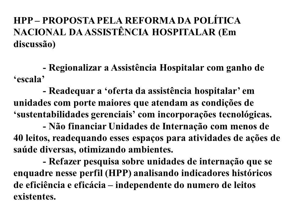 HPP – PROPOSTA PELA REFORMA DA POLÍTICA NACIONAL DA ASSISTÊNCIA HOSPITALAR (Em discussão)