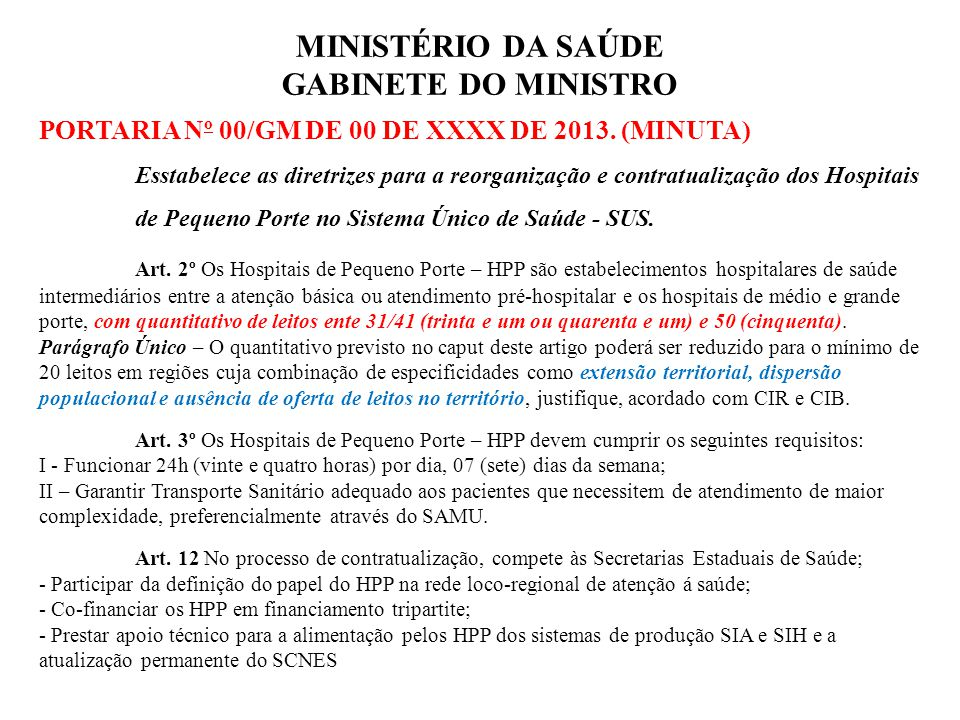 MINISTÉRIO DA SAÚDE GABINETE DO MINISTRO