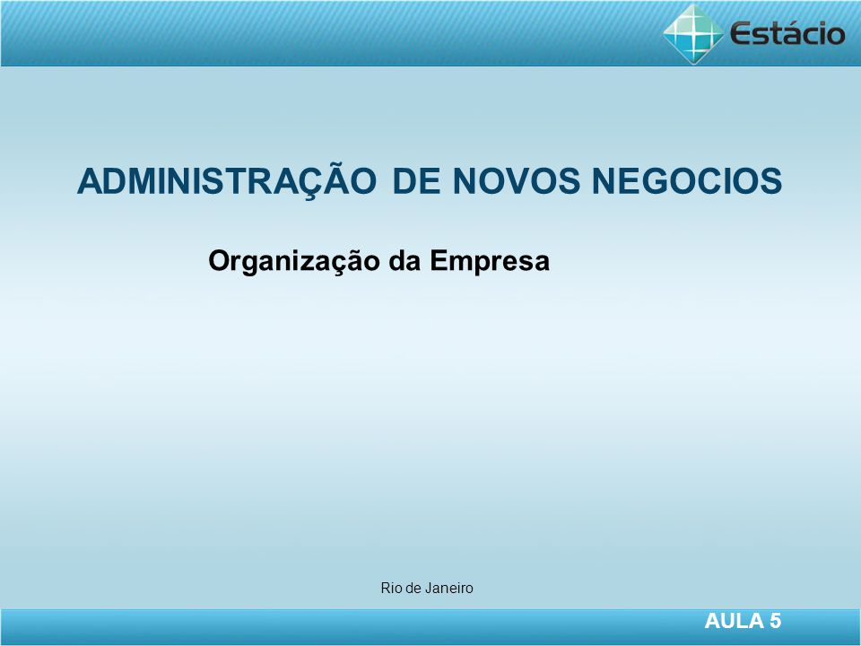 ADMINISTRAÇÃO DE NOVOS NEGOCIOS