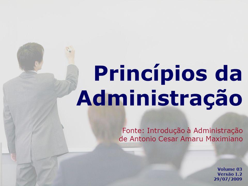 Princípios da Administração Fonte: Introdução à Administração de Antonio Cesar Amaru Maximiano