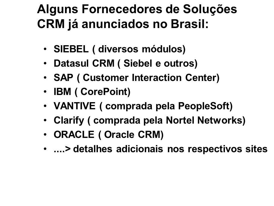 Alguns Fornecedores de Soluções CRM já anunciados no Brasil: