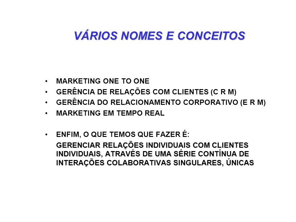 VÁRIOS NOMES E CONCEITOS