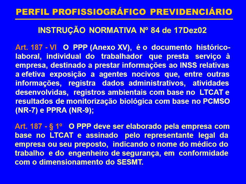 INSTRUÇÃO NORMATIVA Nº 84 de 17Dez02