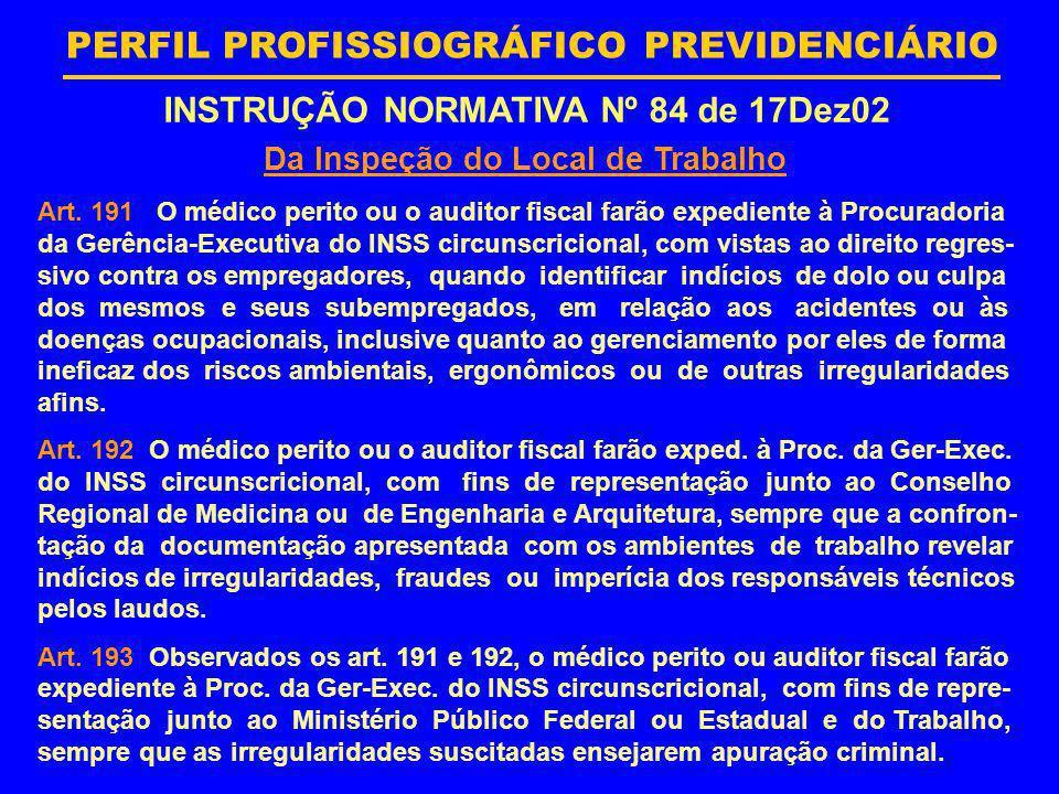 INSTRUÇÃO NORMATIVA Nº 84 de 17Dez02 Da Inspeção do Local de Trabalho
