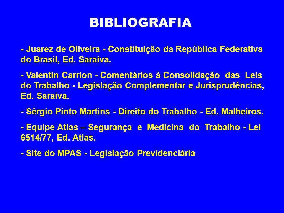 BIBLIOGRAFIA - Juarez de Oliveira - Constituição da República Federativa do Brasil, Ed. Saraiva.