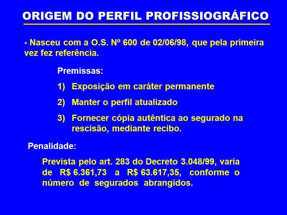 ORIGEM DO PERFIL PROFISSIOGRÁFICO