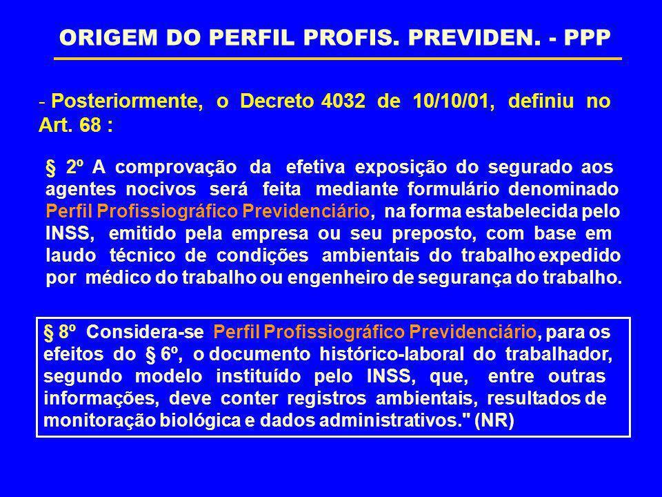 ORIGEM DO PERFIL PROFIS. PREVIDEN. - PPP
