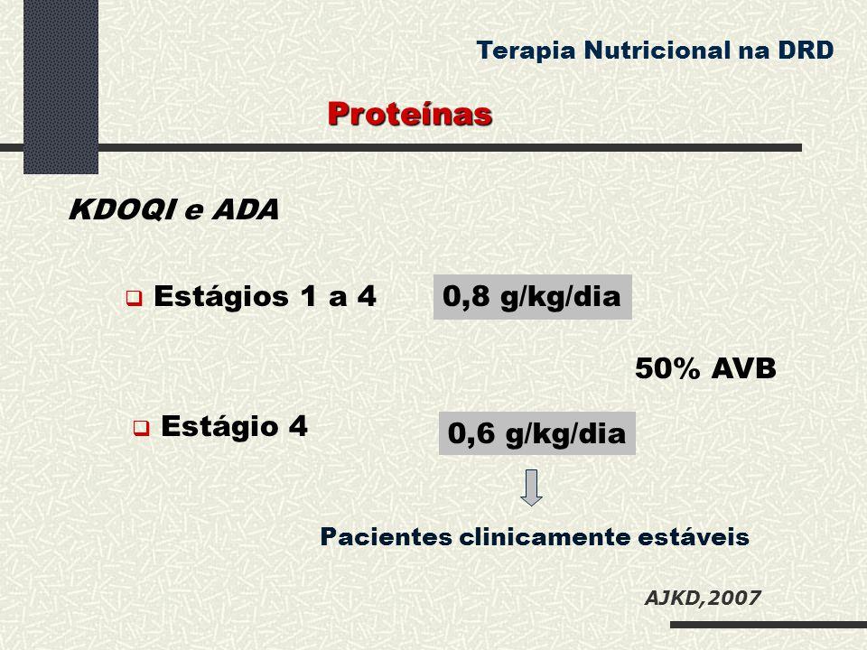 Proteínas KDOQI e ADA 0,8 g/kg/dia 50% AVB 0,6 g/kg/dia