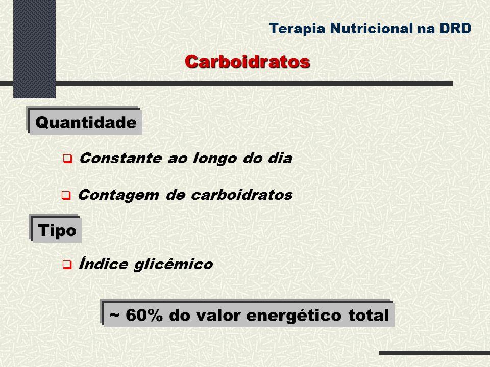 Carboidratos Quantidade Tipo ~ 60% do valor energético total