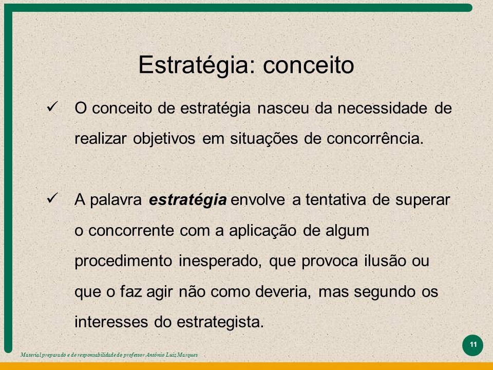 Estratégia: conceito O conceito de estratégia nasceu da necessidade de realizar objetivos em situações de concorrência.