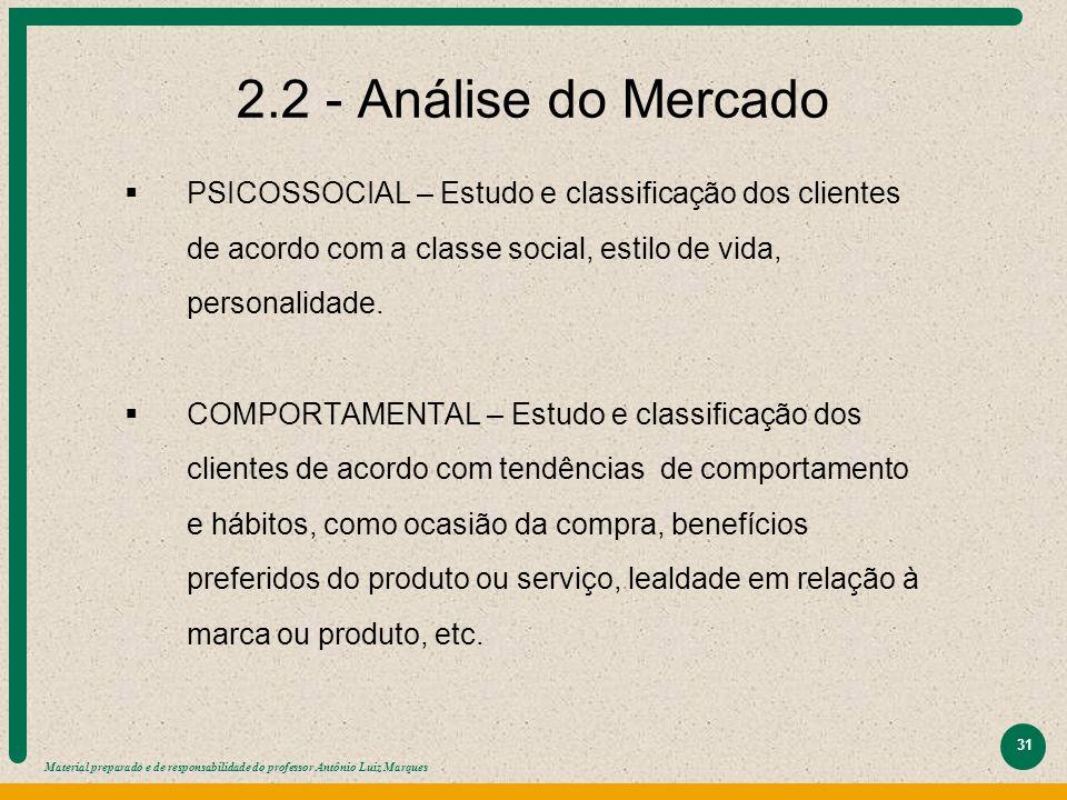 2.2 - Análise do Mercado PSICOSSOCIAL – Estudo e classificação dos clientes de acordo com a classe social, estilo de vida, personalidade.