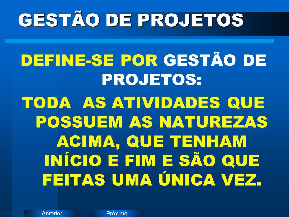 DEFINE-SE POR GESTÃO DE PROJETOS: