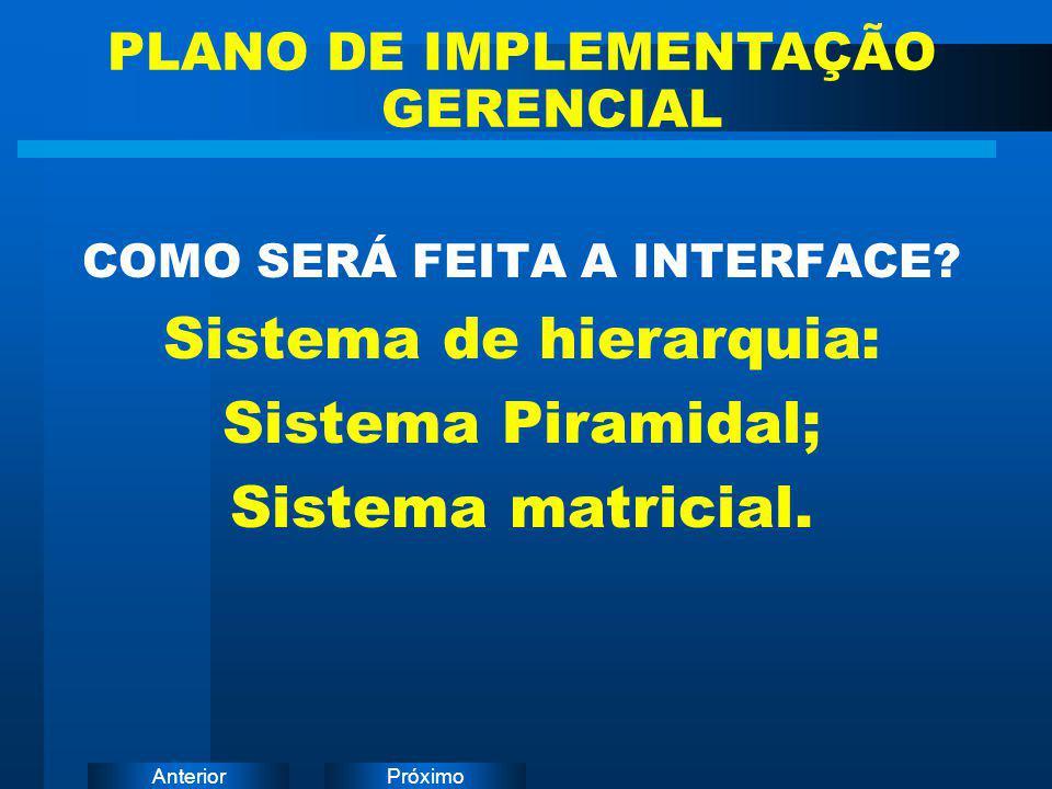 Sistema de hierarquia: Sistema Piramidal; Sistema matricial.