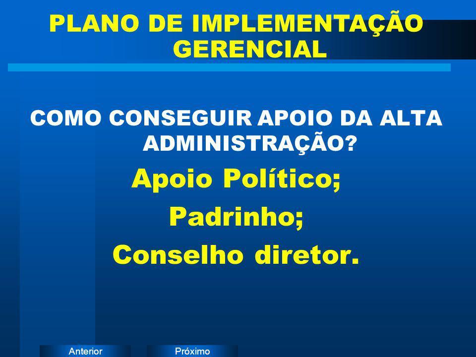 Apoio Político; Padrinho; Conselho diretor.