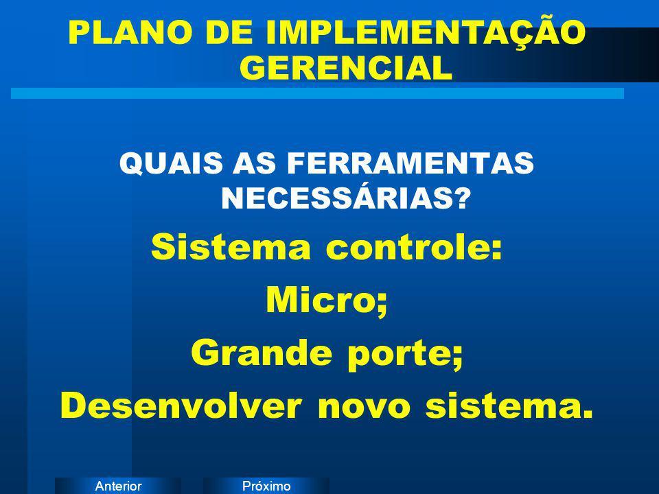 Sistema controle: Micro; Grande porte; Desenvolver novo sistema.