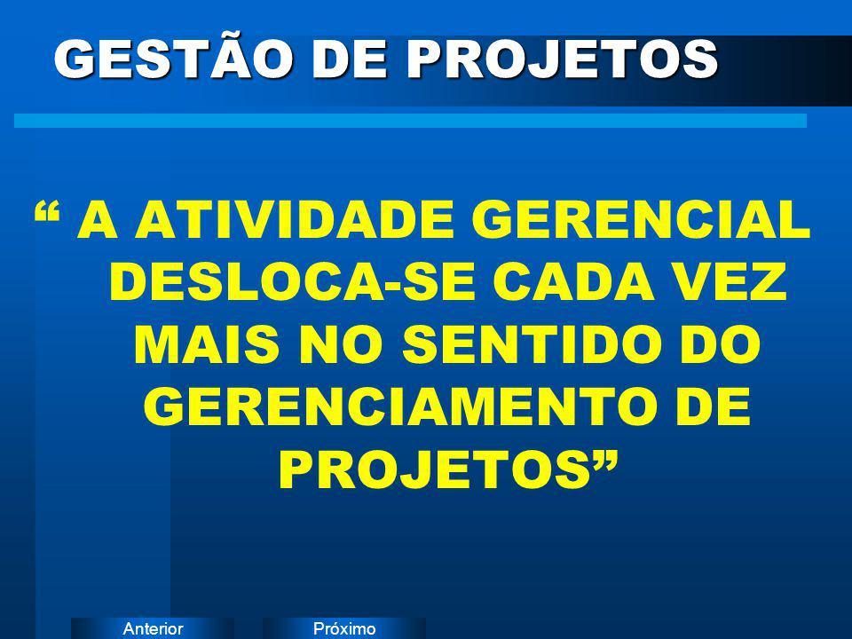 GESTÃO DE PROJETOS A ATIVIDADE GERENCIAL DESLOCA-SE CADA VEZ MAIS NO SENTIDO DO GERENCIAMENTO DE PROJETOS