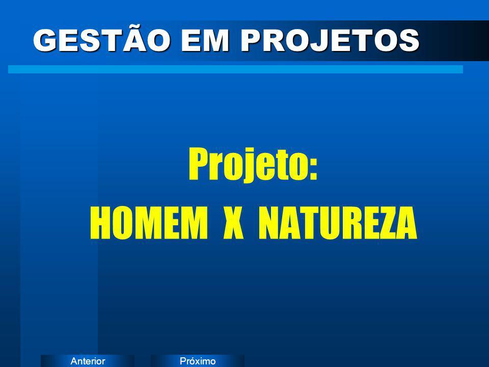 GESTÃO EM PROJETOS Projeto: HOMEM X NATUREZA