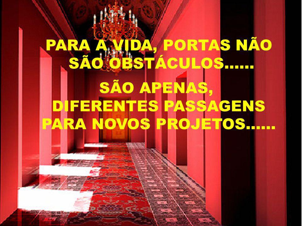 PARA A VIDA, PORTAS NÃO SÃO OBSTÁCULOS...... SÃO APENAS, DIFERENTES PASSAGENS.